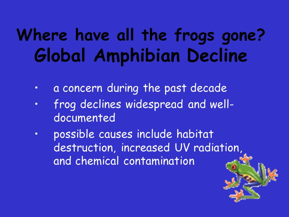 Correlations to Human Health Concerns high nitrate levels (from fertilizers) in human drinking water and frog breeding ponds are hazardous human birth