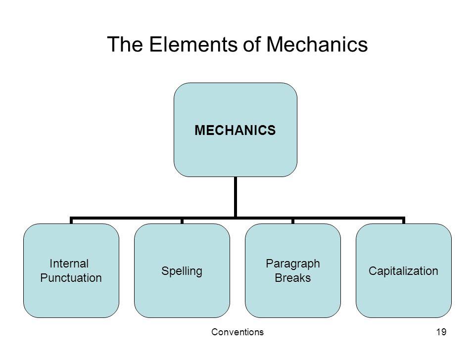 Conventions19 The Elements of Mechanics MECHANICS Internal Punctuation Spelling Paragraph Breaks Capitalization