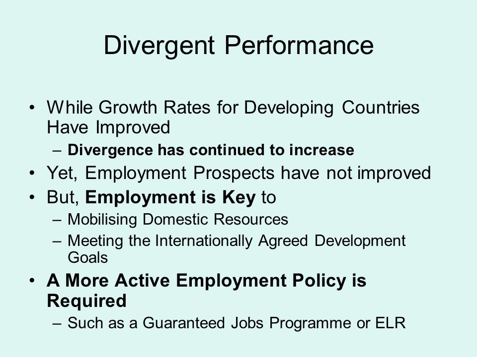 Divergent Performance While Growth Rates for Developing Countries Have Improved –Divergence has continued to increase Yet, Employment Prospects have not improved But, Employment is Key to –Mobilising Domestic Resources –Meeting the Internationally Agreed Development Goals A More Active Employment Policy is Required –Such as a Guaranteed Jobs Programme or ELR