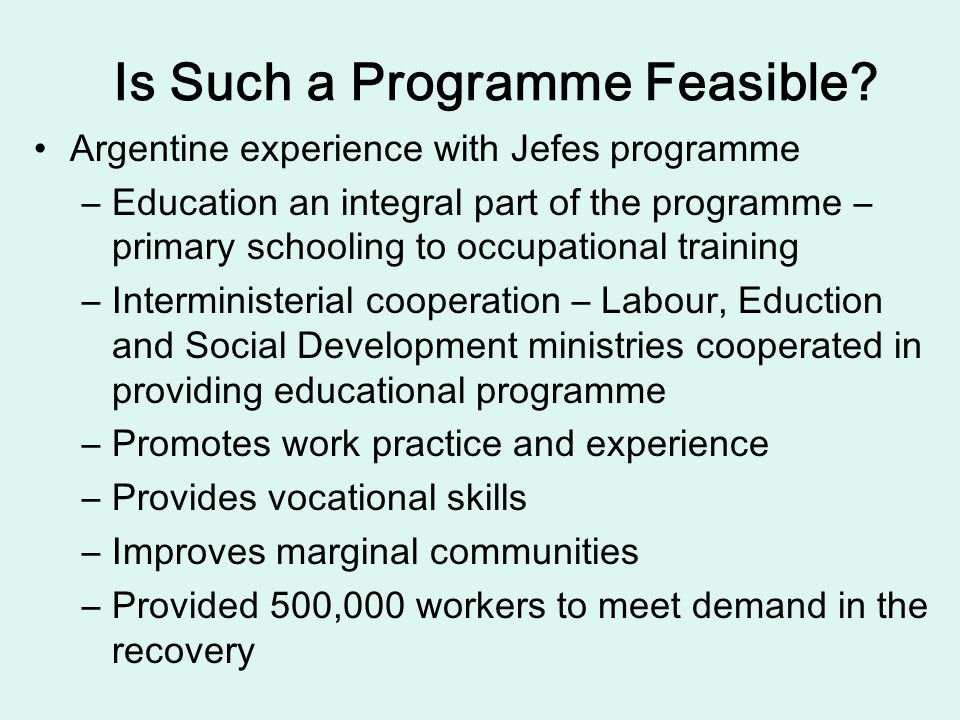 Is Such a Programme Feasible? Argentine experience with Jefes programme –Education an integral part of the programme – primary schooling to occupation