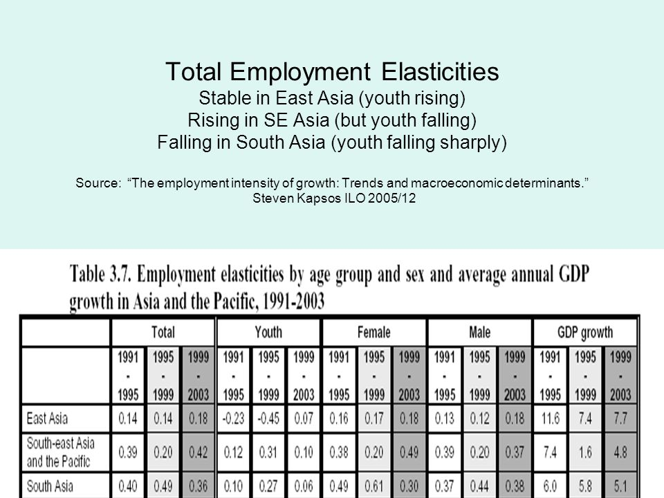 Total Employment Elasticities Stable in East Asia (youth rising) Rising in SE Asia (but youth falling) Falling in South Asia (youth falling sharply) Source: The employment intensity of growth: Trends and macroeconomic determinants.