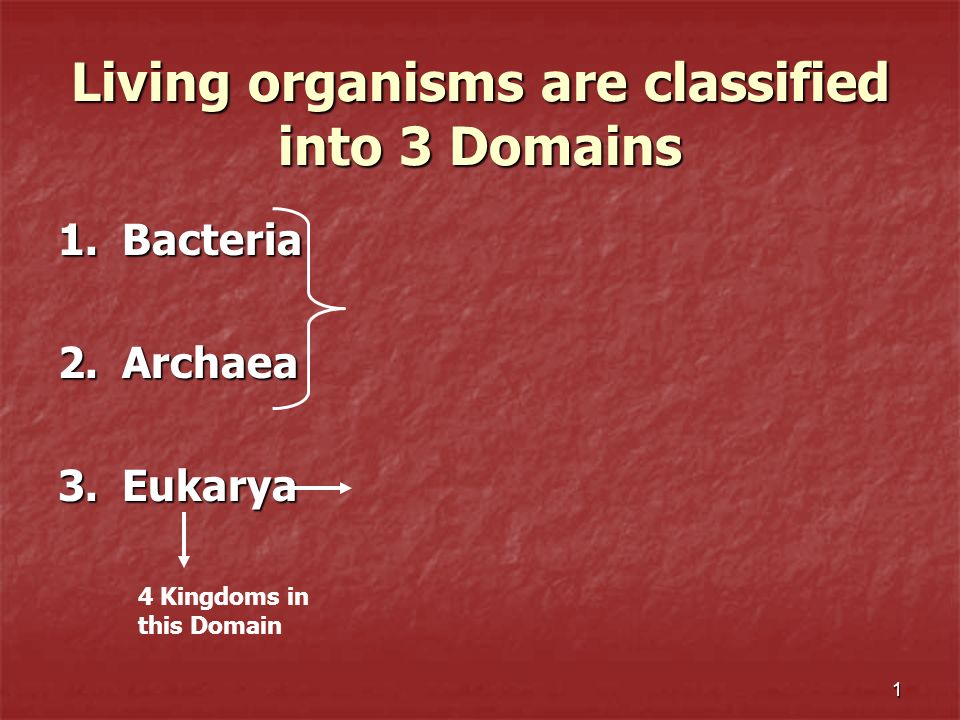 1 Living organisms are classified into 3 Domains 1.Bacteria 2.Archaea 3.Eukarya 4 Kingdoms in this Domain