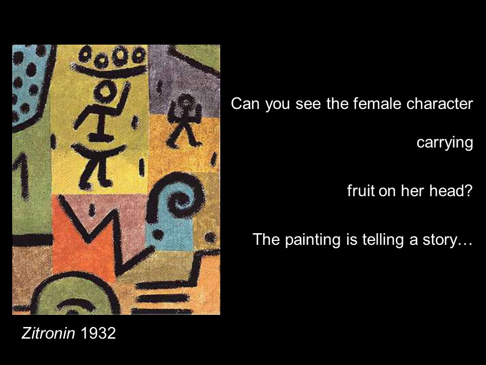 Zitronin 1932 Can you see the female character carrying fruit on her head? The painting is telling a story…