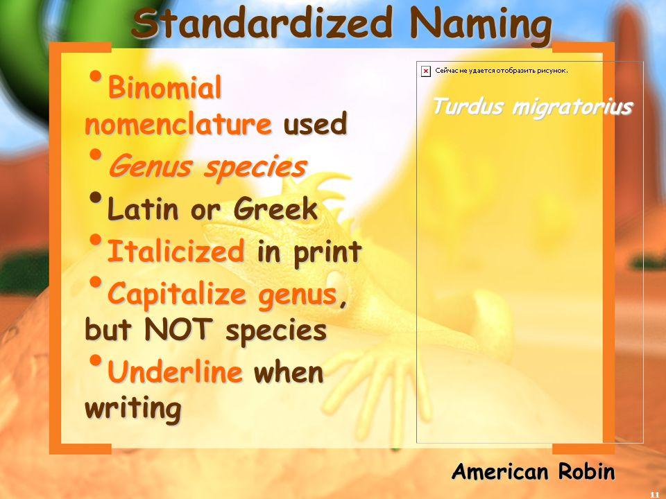 11 Standardized Naming Binomial nomenclature used Binomial nomenclature used Genus species Genus species Latin or Greek Latin or Greek Italicized in p