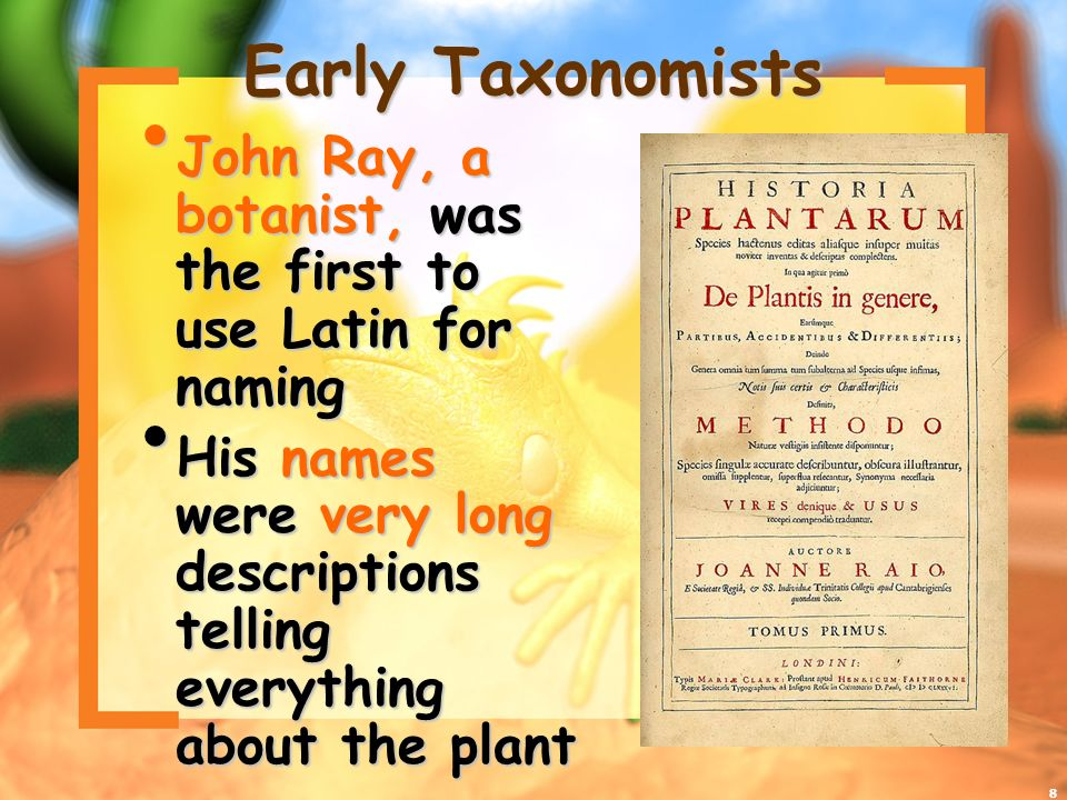 8 Early Taxonomists John Ray, a botanist, was the first to use Latin for naming John Ray, a botanist, was the first to use Latin for naming His names were very long descriptions telling everything about the plant His names were very long descriptions telling everything about the plant