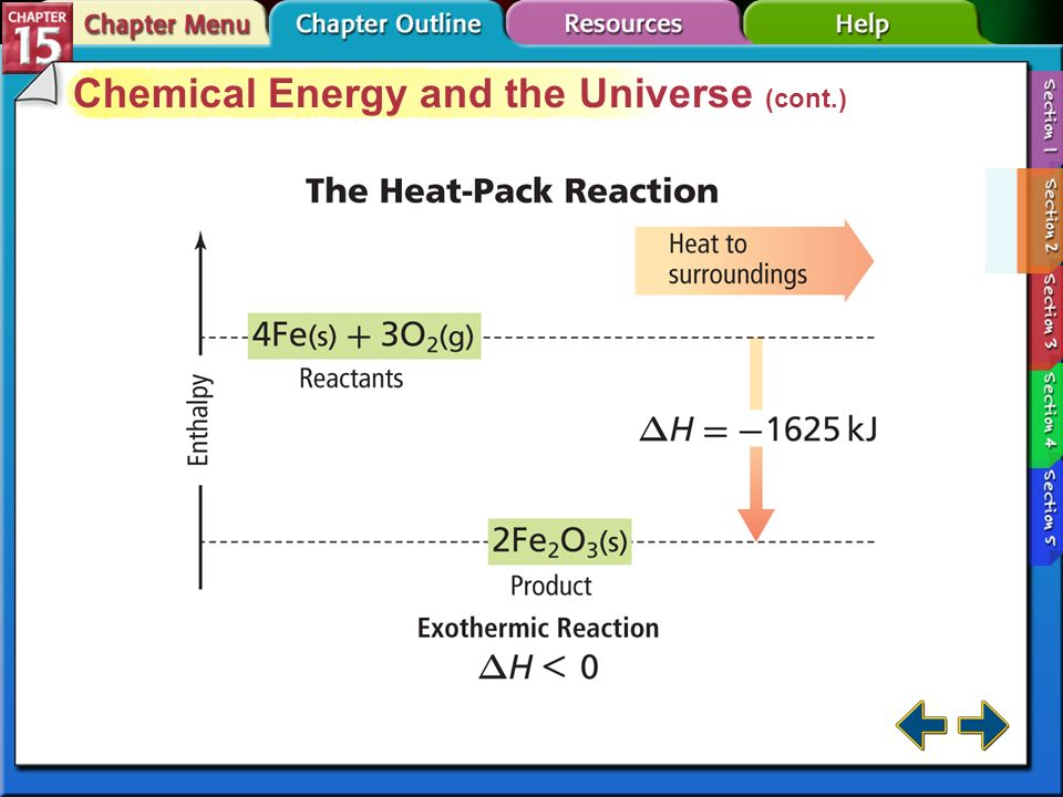 Section 15-2 Chemical Energy and the Universe (cont.) Enthalpy changes for exothermic reactions are always negative Enthalpy changes for endothermic r