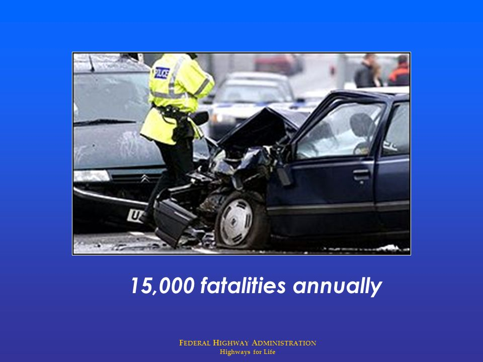 F EDERAL H IGHWAY A DMINISTRATION Highways for Life 15,000 fatalities annually