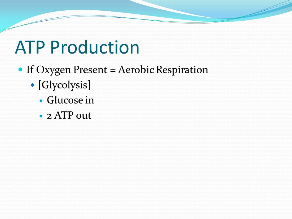 ATP Production If Oxygen Present = Aerobic Respiration [Glycolysis] Glucose in 2 ATP out