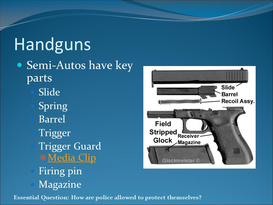 Essential Question: How are police allowed to protect themselves? Handguns Semi-Autos have key parts Slide Spring Barrel Trigger Trigger Guard Media C