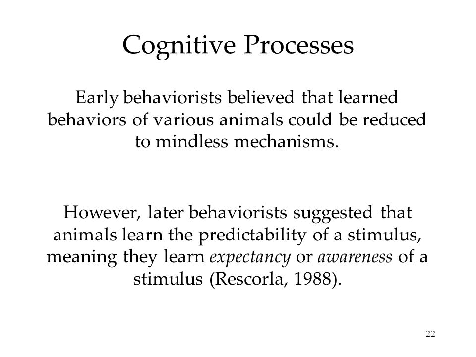 22 Cognitive Processes Early behaviorists believed that learned behaviors of various animals could be reduced to mindless mechanisms. However, later b