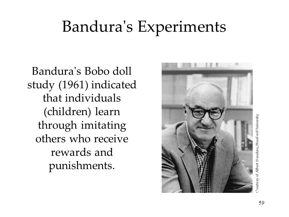 59 Bandura's Experiments Bandura's Bobo doll study (1961) indicated that individuals (children) learn through imitating others who receive rewards and