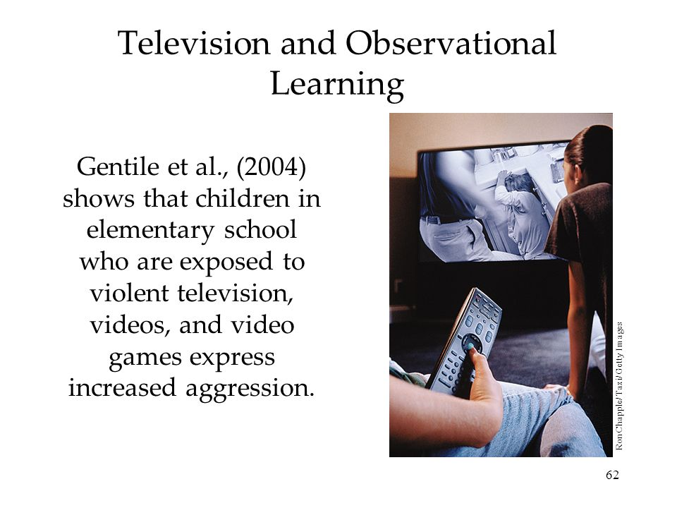 62 Television and Observational Learning Gentile et al., (2004) shows that children in elementary school who are exposed to violent television, videos