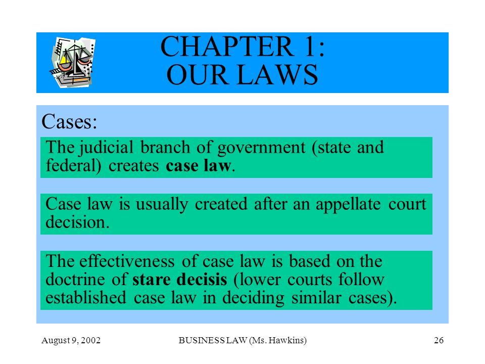 August 9, 2002BUSINESS LAW (Ms. Hawkins)26 CHAPTER 1: OUR LAWS Cases: The judicial branch of government (state and federal) creates case law. Case law