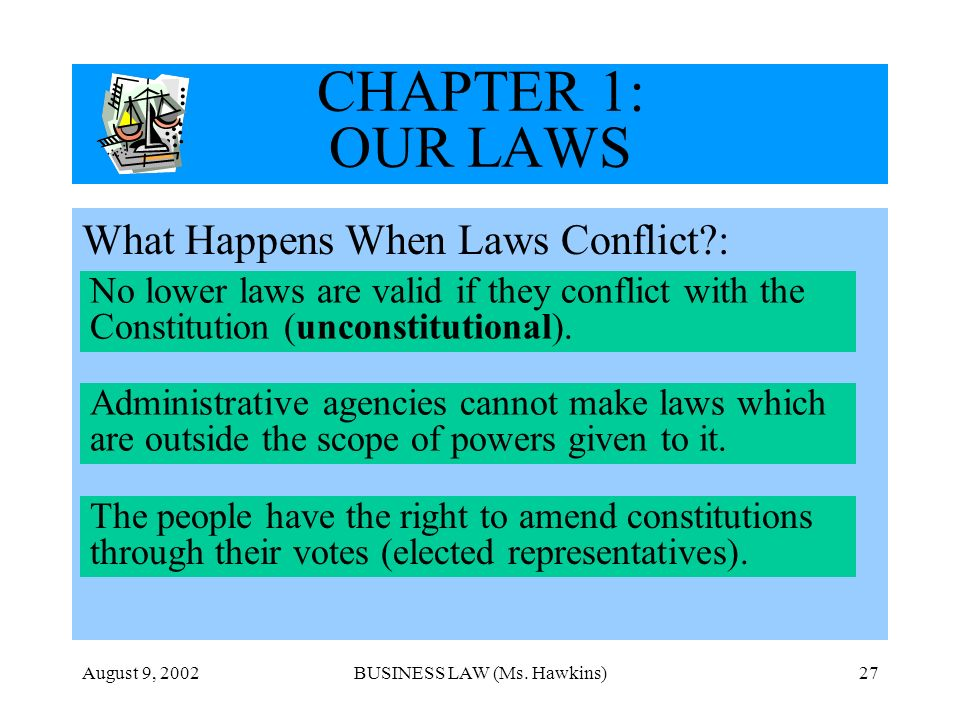 August 9, 2002BUSINESS LAW (Ms. Hawkins)27 CHAPTER 1: OUR LAWS What Happens When Laws Conflict?: No lower laws are valid if they conflict with the Con