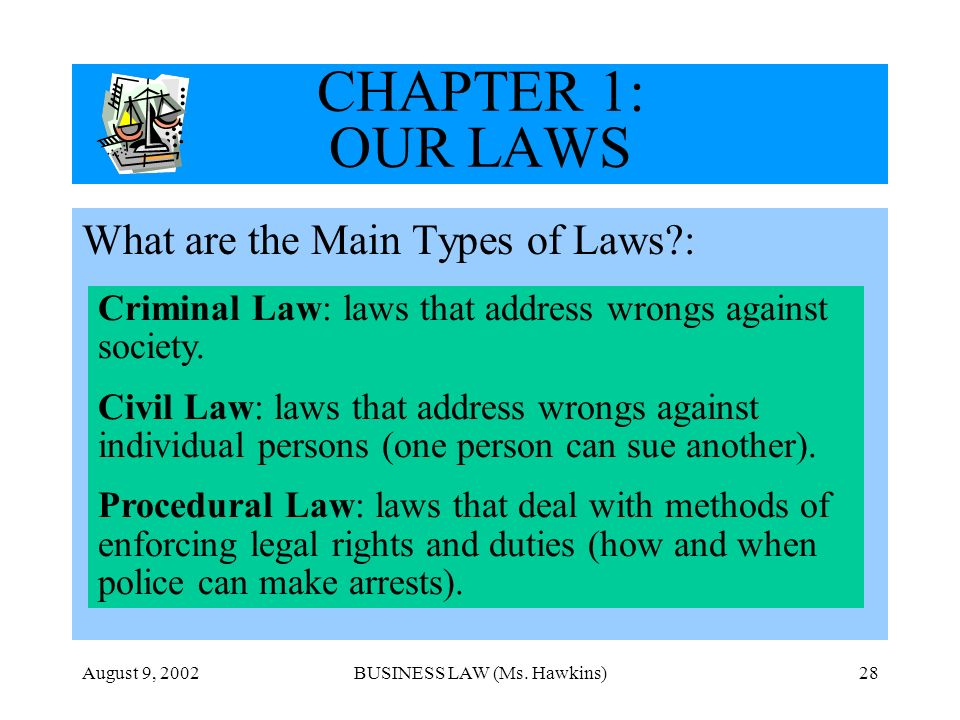 August 9, 2002BUSINESS LAW (Ms. Hawkins)28 CHAPTER 1: OUR LAWS What are the Main Types of Laws?: Criminal Law: laws that address wrongs against societ