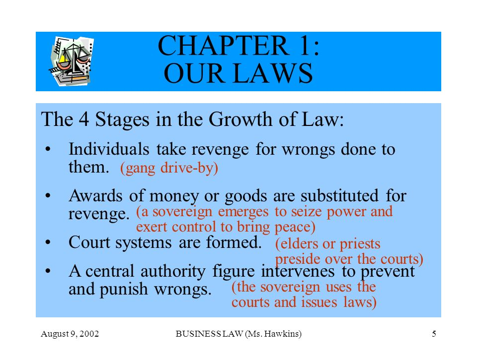 August 9, 2002BUSINESS LAW (Ms. Hawkins)5 CHAPTER 1: OUR LAWS The 4 Stages in the Growth of Law: Individuals take revenge for wrongs done to them. Awa