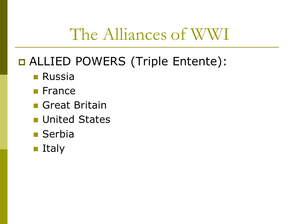 The Alliances of WWI ALLIED POWERS (Triple Entente): Russia France Great Britain United States Serbia Italy