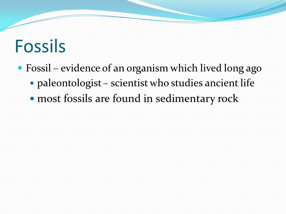 Fossils Fossil – evidence of an organism which lived long ago paleontologist – scientist who studies ancient life most fossils are found in sedimentar