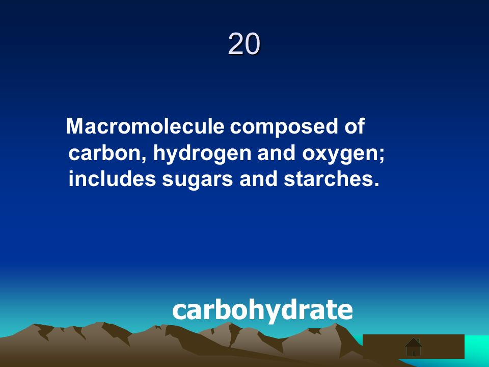 20 Macromolecule composed of carbon, hydrogen and oxygen; includes sugars and starches. carbohydrate
