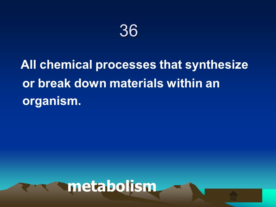 36 All chemical processes that synthesize or break down materials within an organism. metabolism