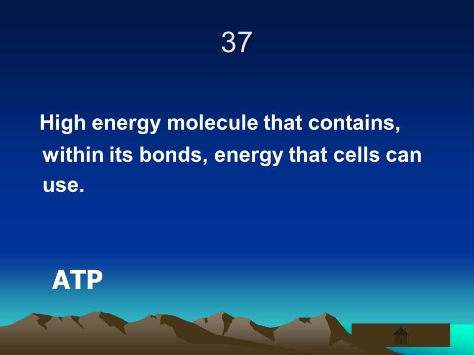 37 High energy molecule that contains, within its bonds, energy that cells can use. ATP