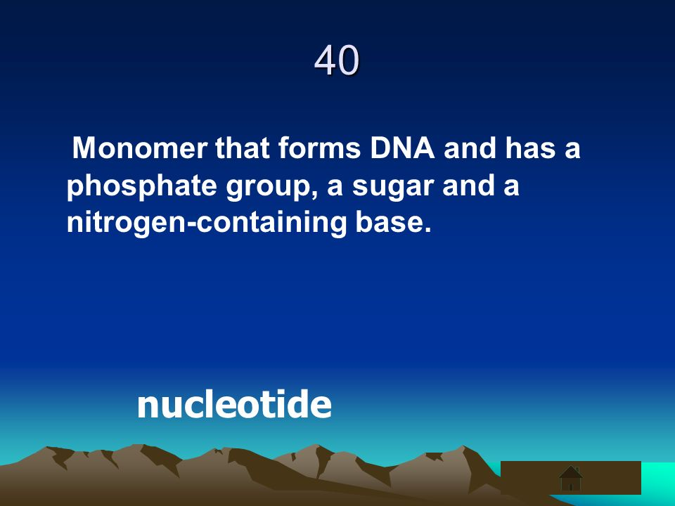 40 Monomer that forms DNA and has a phosphate group, a sugar and a nitrogen-containing base. nucleotide