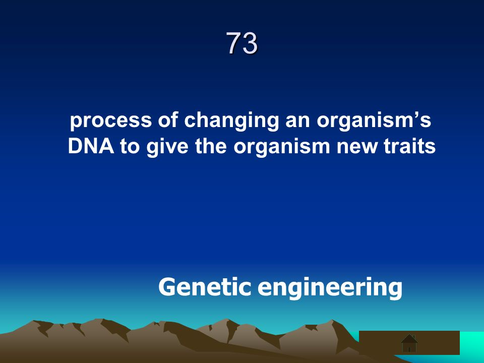 73 process of changing an organisms DNA to give the organism new traits Genetic engineering