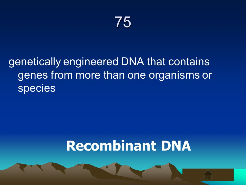 75 genetically engineered DNA that contains genes from more than one organisms or species Recombinant DNA