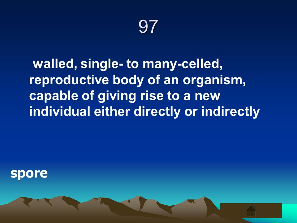 97 walled, single- to many-celled, reproductive body of an organism, capable of giving rise to a new individual either directly or indirectly spore