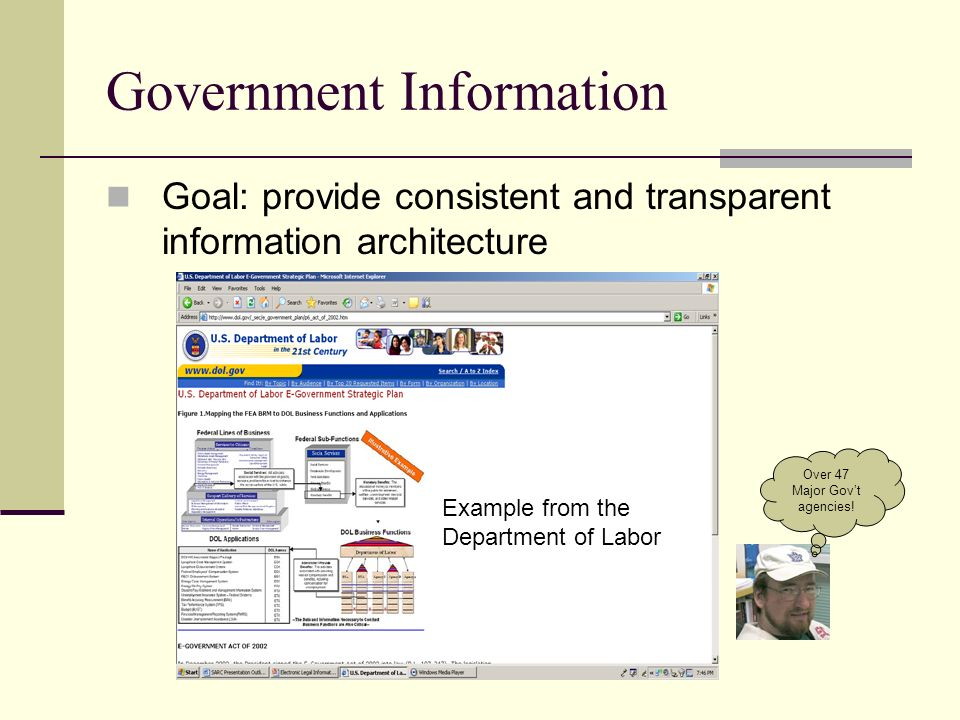 Government Information Goal: provide consistent and transparent information architecture Example from the Department of Labor Over 47 Major Govt agencies!