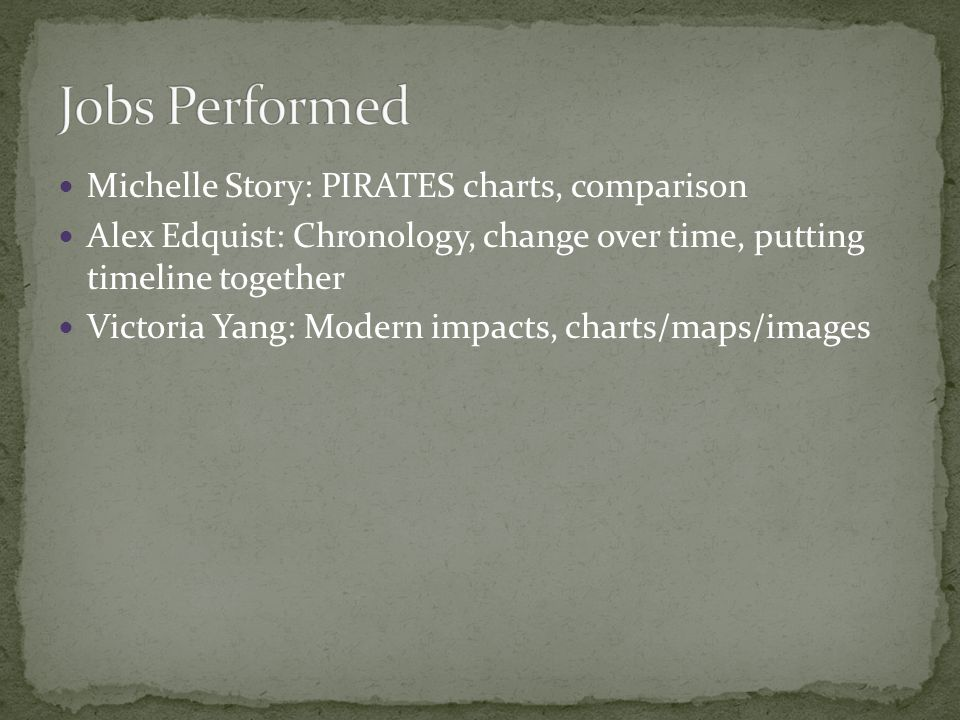 Michelle Story: PIRATES charts, comparison Alex Edquist: Chronology, change over time, putting timeline together Victoria Yang: Modern impacts, charts