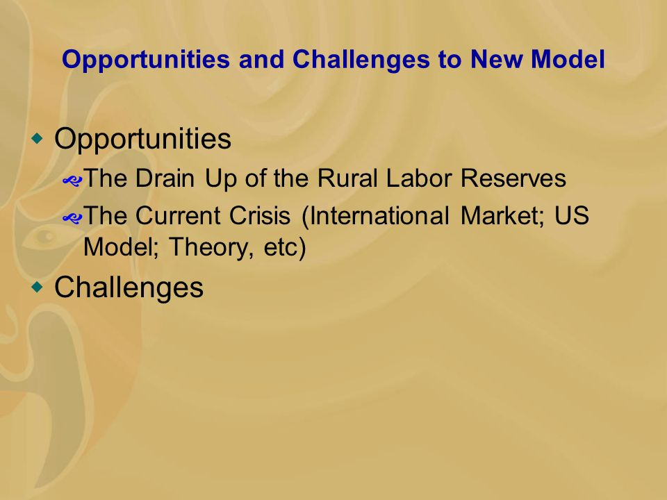 Opportunities and Challenges to New Model Opportunities The Drain Up of the Rural Labor Reserves The Current Crisis (International Market; US Model; Theory, etc) Challenges