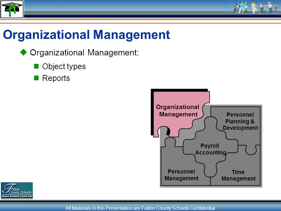 All Materials in this Presentation are Fulton County Schools Confidential Organizational Management Organizational Management: Object types Reports Personnel Planning & Development Payroll Accounting Personnel Management Time Management Organizational Management