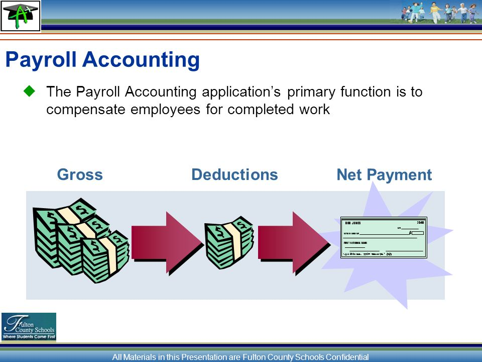 All Materials in this Presentation are Fulton County Schools Confidential Payroll Accounting The Payroll Accounting applications primary function is to compensate employees for completed work Net Payment GrossDeductions