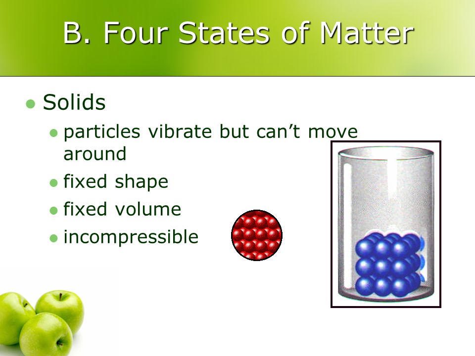 B. Four States of Matter Solids particles vibrate but cant move around fixed shape fixed volume incompressible