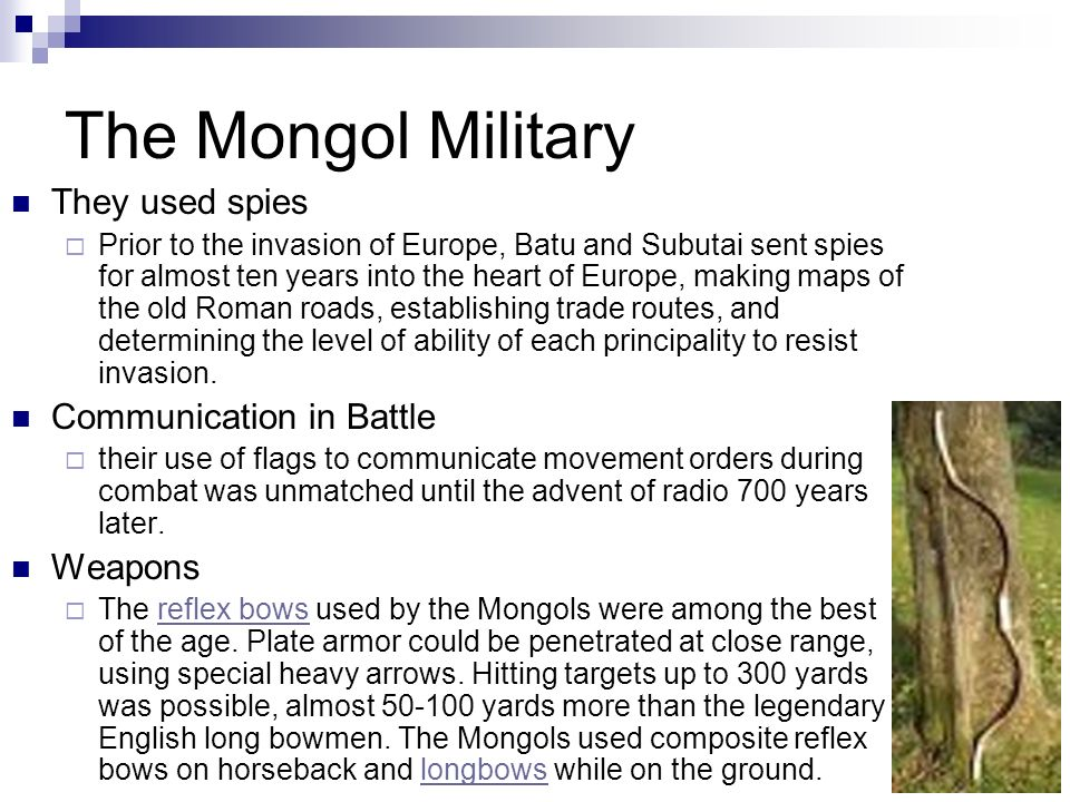 The Mongol Military Mongol Way of Fighting Small units of men made up large armies The Mongols were horsemen Each soldier had 3 - 5 horses, mostly mar