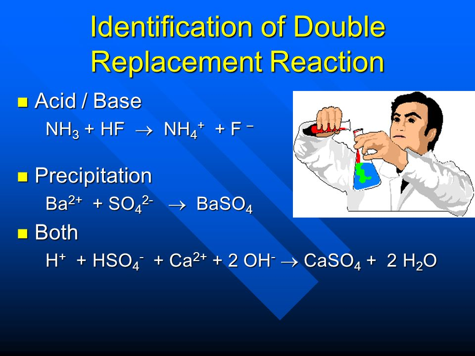 Identification of Double Replacement Reaction Acid / Base Acid / Base NH 3 + HF NH 4 + + F – NH 3 + HF NH 4 + + F – Precipitation Precipitation Ba 2+ + SO 4 2- BaSO 4 Ba 2+ + SO 4 2- BaSO 4 Both Both H + + HSO 4 - + Ca 2+ + 2 OH - CaSO 4 + 2 H 2 O H + + HSO 4 - + Ca 2+ + 2 OH - CaSO 4 + 2 H 2 O