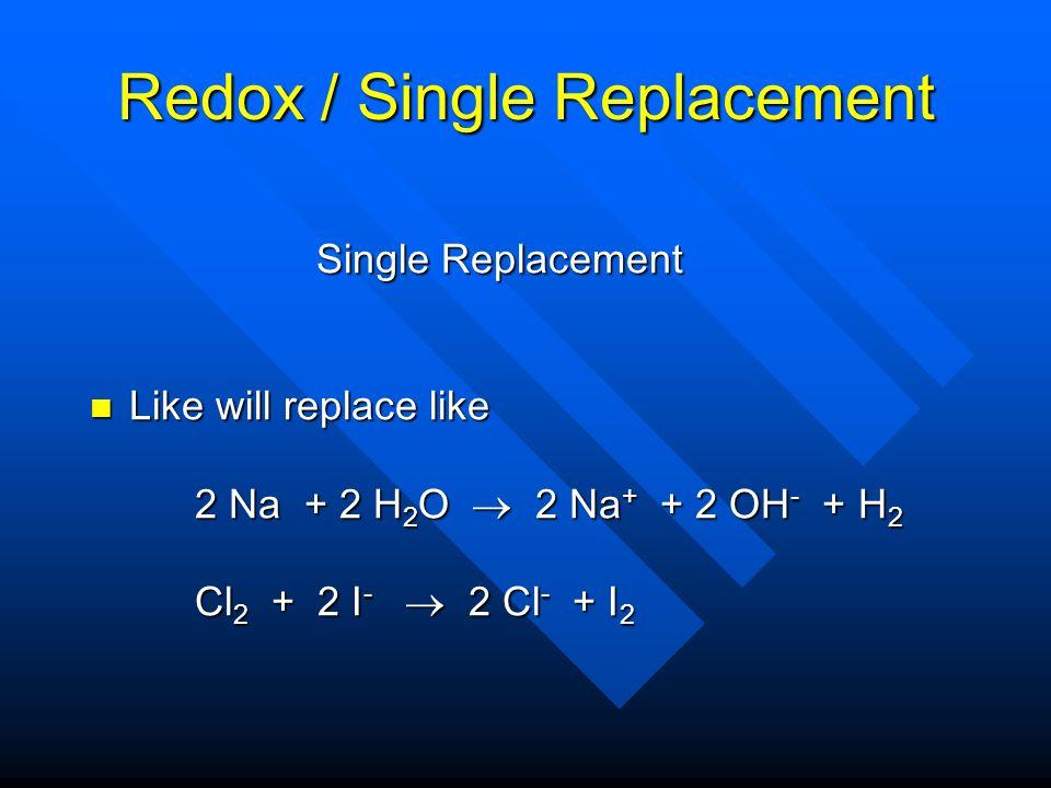 Redox / Single Replacement Single Replacement Single Replacement Like will replace like Like will replace like 2 Na + 2 H 2 O 2 Na + + 2 OH - + H 2 Cl 2 + 2 I - 2 Cl - + I 2 Cl 2 + 2 I - 2 Cl - + I 2