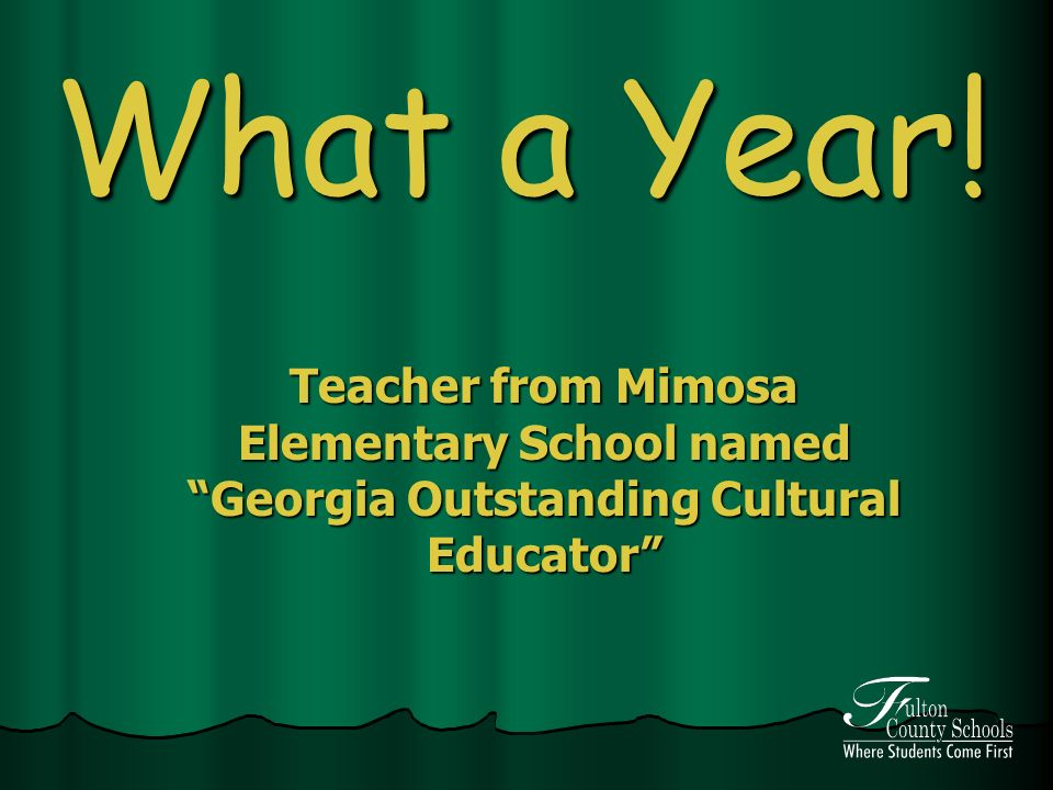 What a Year! Teacher from Mimosa Elementary School named Georgia Outstanding Cultural Educator