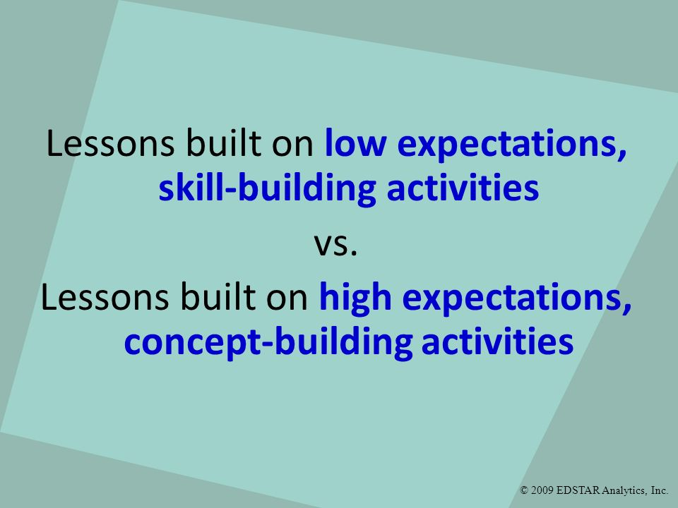 Lessons built on low expectations, skill-building activities vs. Lessons built on high expectations, concept-building activities © 2009 EDSTAR Analyti