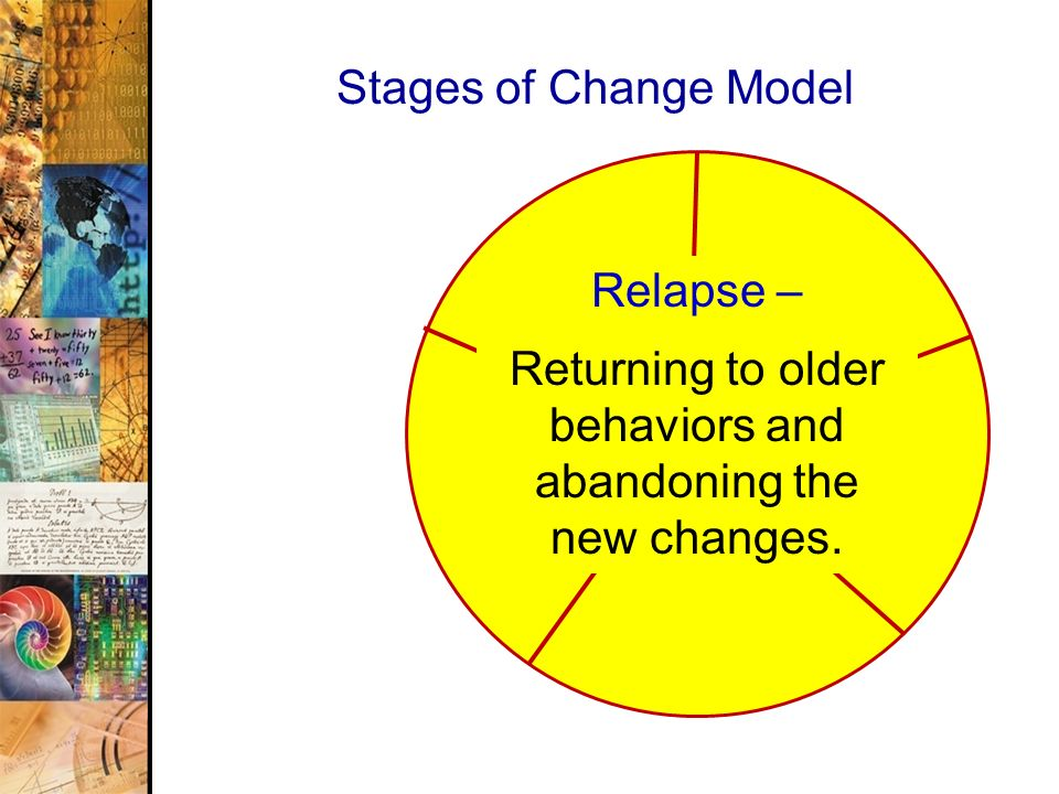 46 Stages of Change Model Relapse – Returning to older behaviors and abandoning the new changes.