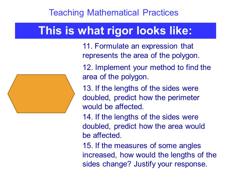 Teaching Mathematical Practices This is what rigor looks like: 11. Formulate an expression that represents the area of the polygon. 12. Implement your