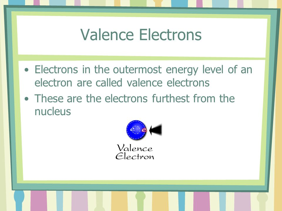 Valence Electrons Electrons in the outermost energy level of an electron are called valence electrons These are the electrons furthest from the nucleu