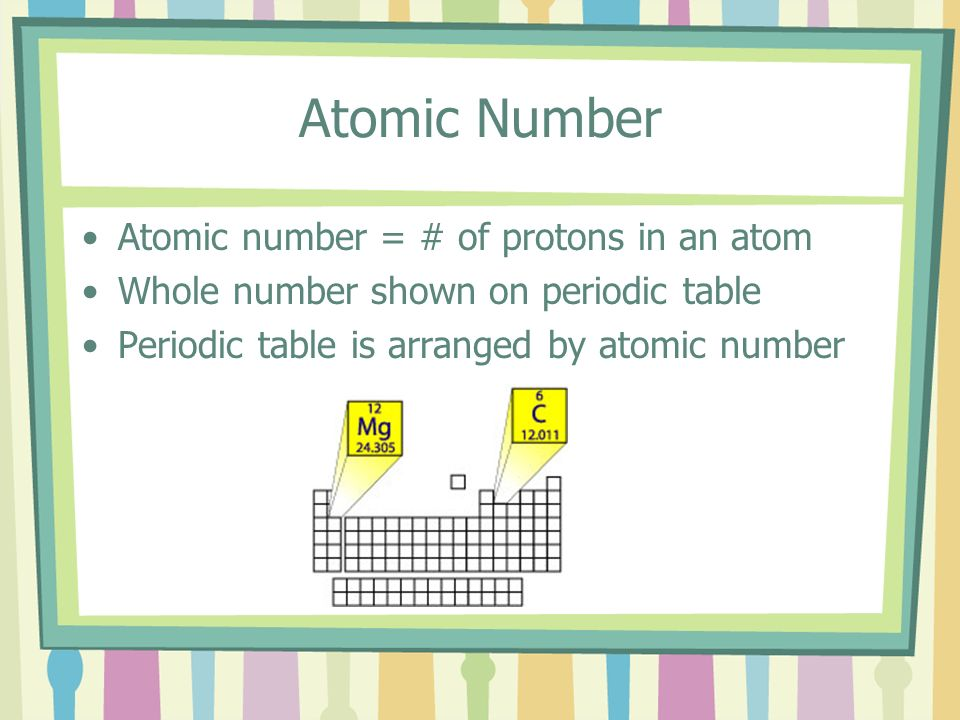 Atomic Number Atomic number = # of protons in an atom Whole number shown on periodic table Periodic table is arranged by atomic number