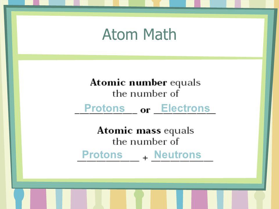 Atom Math ProtonsElectrons ProtonsNeutrons
