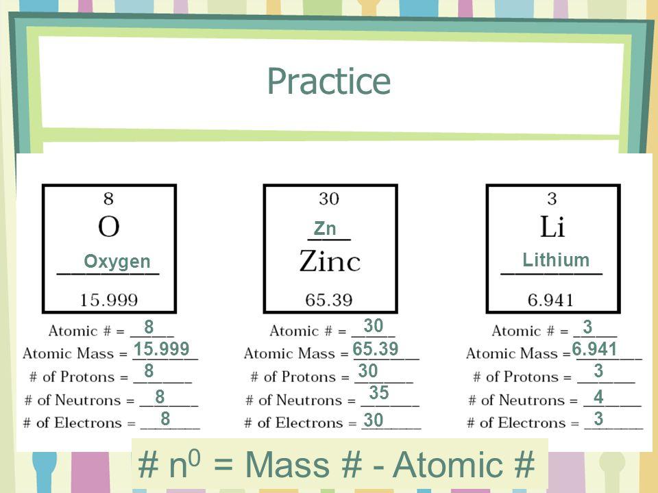 Practice 30 8 15.999 8 8 8 Zn Oxygen 65.39 30 35 30 Lithium 3 6.941 3 4 3 # n 0 = Mass # - Atomic #