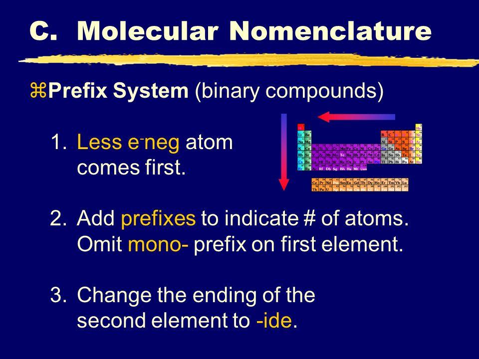 C.Molecular Nomenclature zPrefix System (binary compounds) 1.Less e - neg atom comes first.