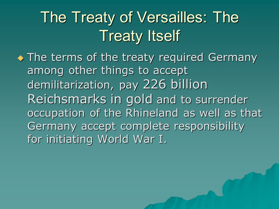 Economic Result: Inflation The burdensome reparations, coupled with a general inflationary period in Europe in the 1920s, caused spiraling hyperinflation of the German Reichsmark by 1923.