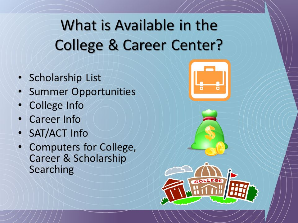 What is Available in the College & Career Center? Scholarship List Summer Opportunities College Info Career Info SAT/ACT Info Computers for College, C