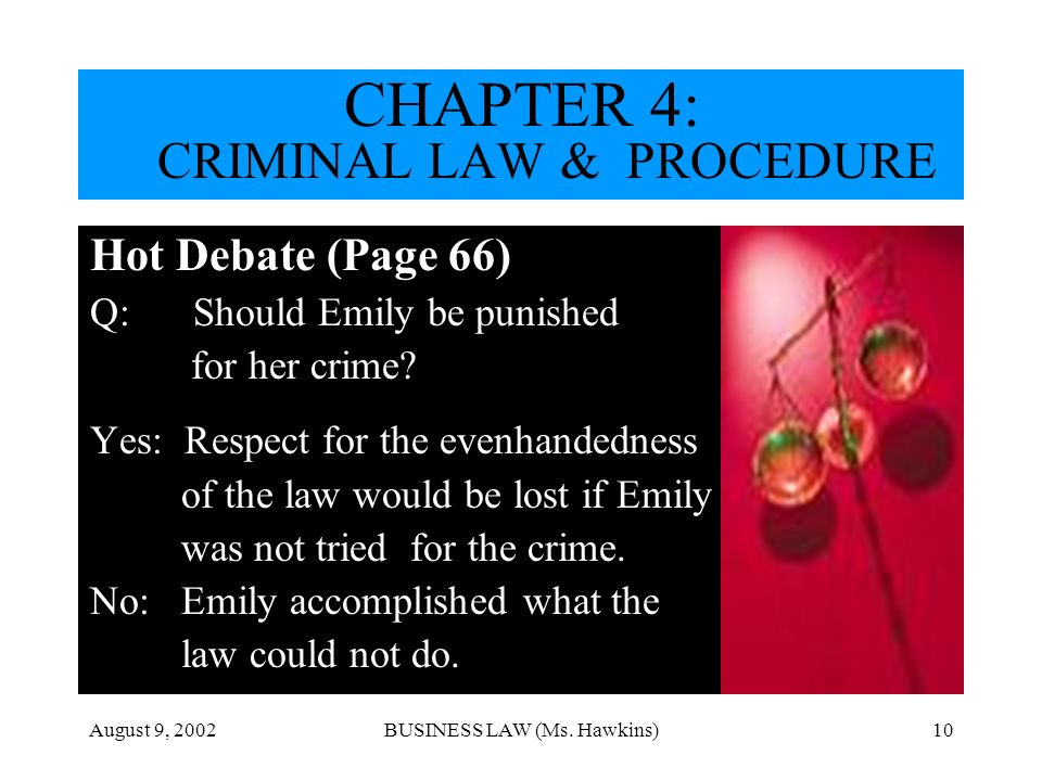August 9, 2002BUSINESS LAW (Ms. Hawkins)10 Hot Debate (Page 66) Q: Should Emily be punished for her crime? Yes: Respect for the evenhandedness of the